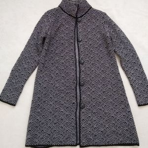 Made in Italy wool knit long line cardigan coat